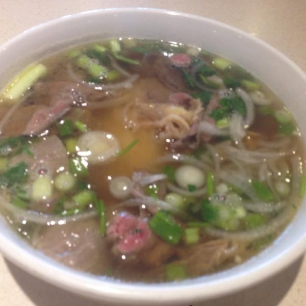 Phở Combination of Rare Steak, Flank Steak, Brisket, Tripe, Tendon, & Meatballs